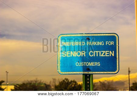 Preferred Parking For Senior Citizen Customers Sign