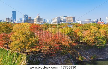 Aerial view of Osaka cityscape from castle in autumn season at Japan