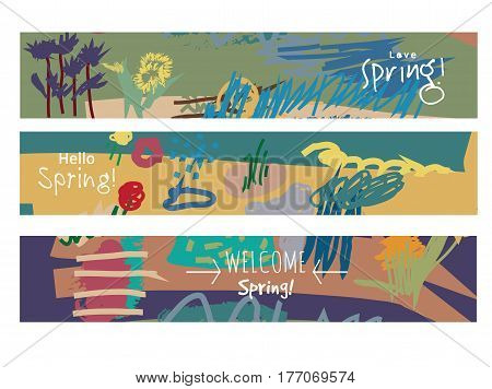 Abstract set horizontal banners spring floral art and sign. Hand Drawn textures. Color vector illustration. EPS8