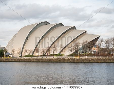 GLASGOW, SCOTLAND - 31 JAN 2017: View of Clyde Auditorium, now known as the SEC Armadillo. The venue seats 3000 people and was completed in 1997 and has since been an iconic image in Glasgow