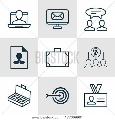 Set Of 9 Business Management Icons. Includes Collaborative Solution, Document Suitcase, Dialogue And Other Symbols. Beautiful Design Elements.