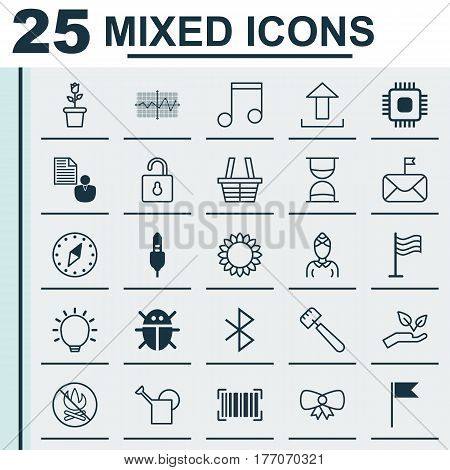 Set Of 25 Universal Editable Icons. Can Be Used For Web, Mobile And App Design. Includes Elements Such As Floret, Beetle, Unlock And More.