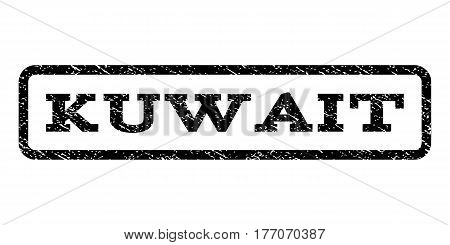 Kuwait watermark stamp. Text caption inside rounded rectangle frame with grunge design style. Rubber seal stamp with dust texture. Vector black ink imprint on a white background.