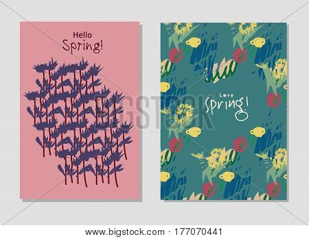 Spring set universal floral cards and text signs. Hand Drawn textures. Color vector illustration. EPS8