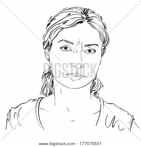 Graphic vector hand-drawn illustration of white skin angry lady with stylish haircut. People negative face expressions. Misunderstood theme.