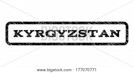 Kyrgyzstan watermark stamp. Text tag inside rounded rectangle frame with grunge design style. Rubber seal stamp with unclean texture. Vector black ink imprint on a white background.