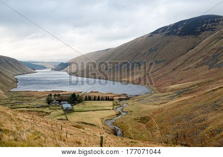 Panoramic view on Scottish landscape near Moffat, Scotland