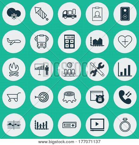 Set Of 25 Universal Editable Icons. Can Be Used For Web, Mobile And App Design. Includes Elements Such As Video Player, Delivery, Bonfire And More.