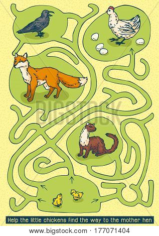 Easter Maze Game. Help the little chikens find the way to the mother hen
