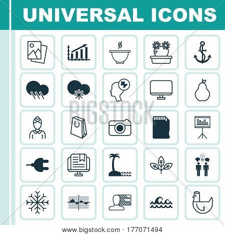 Set Of 25 Universal Editable Icons. Can Be Used For Web, Mobile And App Design. Includes Elements Such As Sprout, Presentation, Memory Card And More.