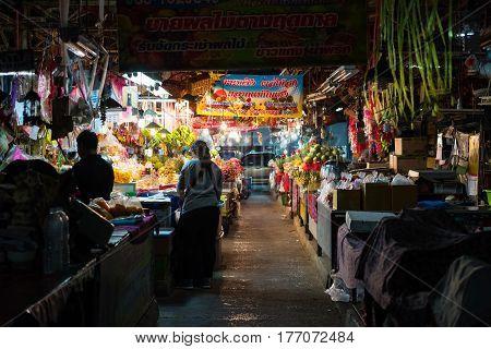 KORAT THAILAND - JANUARY 28 2017: Fruits sale at Mae-Kim-Heng market at night Nakhon Ratchasima or Korat