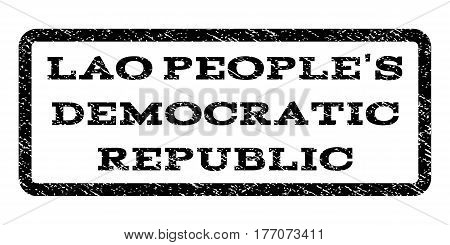Lao People'S Democratic Republic watermark stamp. Text caption inside rounded rectangle with grunge design style. Rubber seal stamp with unclean texture.