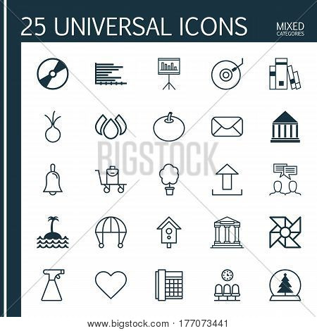 Set Of 25 Universal Editable Icons. Can Be Used For Web, Mobile And App Design. Includes Elements Such As Work Phone, Gramophone, College And More.