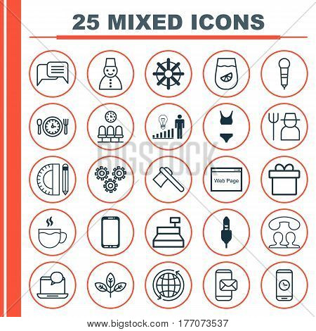 Set Of 25 Universal Editable Icons. Can Be Used For Web, Mobile And App Design. Includes Elements Such As Sprout, Decision Making, Mail Notification And More.