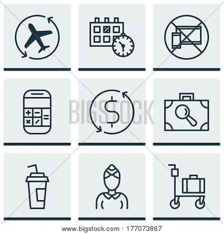 Set Of 9 Transportation Icons. Includes Appointment, Hostess, Drink Cup And Other Symbols. Beautiful Design Elements.