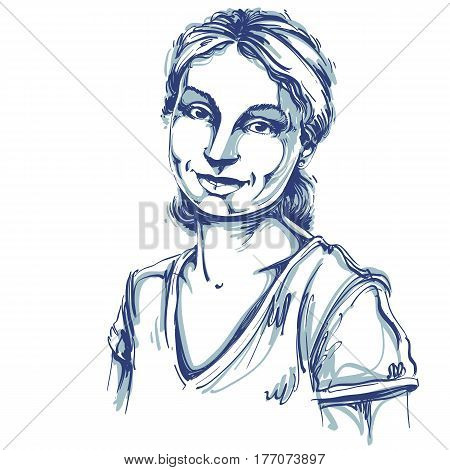 Vector art drawing portrait of gorgeous happy smiling girl isolated on white. Facial expressions people positive emotions.