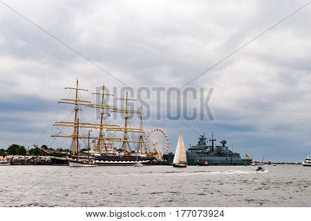 Rostock, Germany - August 2016: Sailing ship Krusenstern on the baltic sea. Hanse-Sail Warnemuende at port Rostock, Mecklenburg-Vorpommern, Germany. Tall Ship.Yachting and Sailing travel. Cruises and holidays