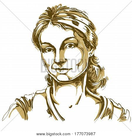 Vector drawing of distrustful woman with stylish haircut. Artistic portrait of doubter lady do not lie to me.