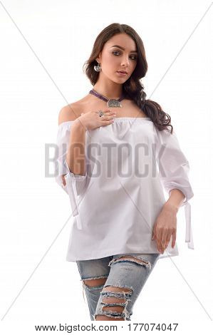 fashion nice model wearing luxury silver accessory and jewelry. Girl Isolated on white background