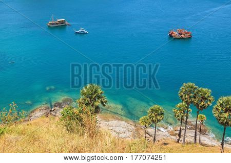 Landscape of Karon and Kata Beaches with blue sky background at Phuket Thailand.