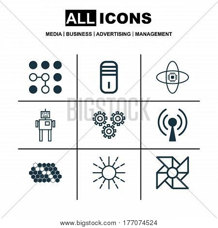 Set Of 9 Robotics Icons. Includes Laptop Ventilator, Mechanism Parts, Cyborg And Other Symbols. Beautiful Design Elements.