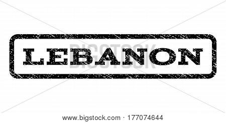 Lebanon watermark stamp. Text tag inside rounded rectangle frame with grunge design style. Rubber seal stamp with unclean texture. Vector black ink imprint on a white background.
