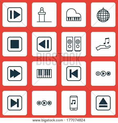 Set Of 16 Multimedia Icons. Includes Run Song Back, Note Donate, Following Music And Other Symbols. Beautiful Design Elements.