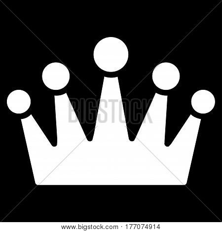 Crown vector icon. Flat white symbol. Pictogram is isolated on a black background. Designed for web and software interfaces.