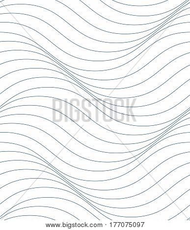 Black and white vector endless pattern created with thin undulate stripes seamless netting composition. Continuous interlace texture can be used as website background and as wrapping paper