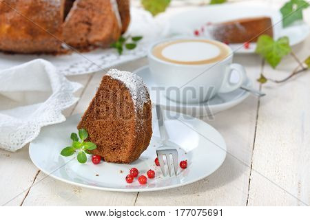 Freshly baked ring-shaped cake with chocolate, so called 'Gugelhupf' in Austria and Germany, served with a cup of cappuccino