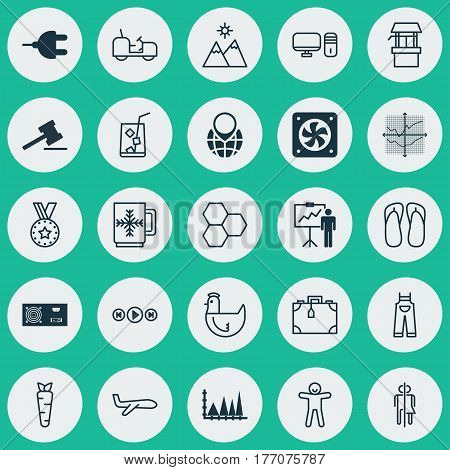 Set Of 25 Universal Editable Icons. Can Be Used For Web, Mobile And App Design. Includes Elements Such As Slipper, Power Generator, Air Transport And More.