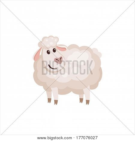 Cute lamb in flat style isolated on white background. Vector illustration. Cartoon sheep.
