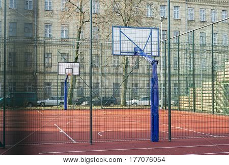 High School or College Basketball Court. Outdoor playground