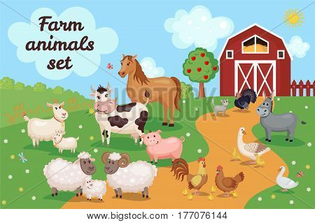 Farm animals and birds with barn house. Vector illustration. Agriculture concept. Cute cartoon animals on meadow grass.
