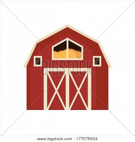 Red barn house icon isolated on a white background. Vector illustration. Farm concept