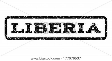 Liberia watermark stamp. Text tag inside rounded rectangle frame with grunge design style. Rubber seal stamp with scratched texture. Vector black ink imprint on a white background.