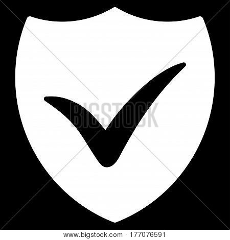 Shield Valid vector icon. Flat white symbol. Pictogram is isolated on a black background. Designed for web and software interfaces.