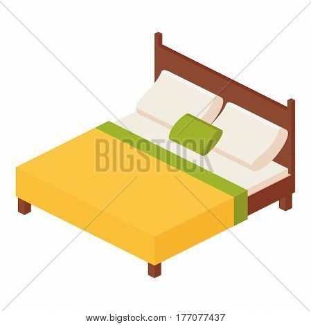 isometric vector illustration double mattress one king size bed with mattress and a high back: two pillows and one decorative pillow Comforter.vector illustration isolated on white background