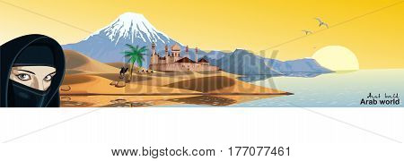Panorama - the Arab fortress on the coast. Landscape. The sandy desert. Dunes. Mountains by the ocean. Oriental woman. Camel caravan in the desert. Vector illustration