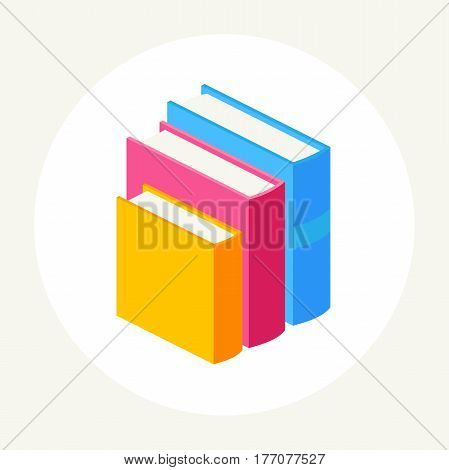 abstract three books with colorful covers stand in a row.Vector illustration isolated on white background. set of close books in isometric view.Academic education symbol learning, reading, school sign