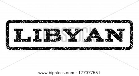 Libyan watermark stamp. Text caption inside rounded rectangle with grunge design style. Rubber seal stamp with unclean texture. Vector black ink imprint on a white background.