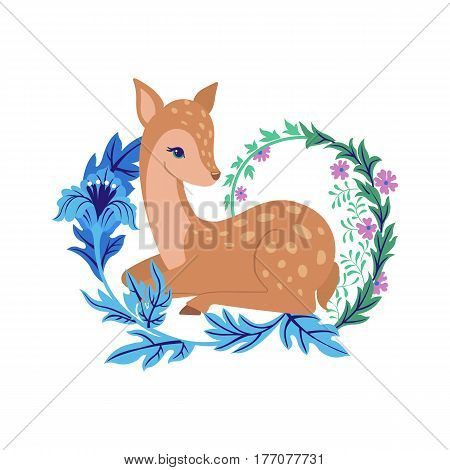 Cute deer with floral ornament isolated on white background. Cartoon fawn. Vector illustration.