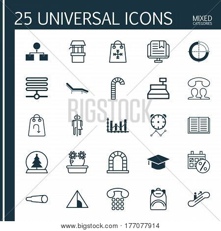 Set Of 25 Universal Editable Icons. Can Be Used For Web, Mobile And App Design. Includes Elements Such As Refund, Trading, Graduation And More.