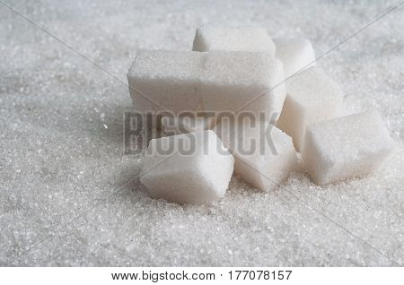 sugar background with cubes of white sugar