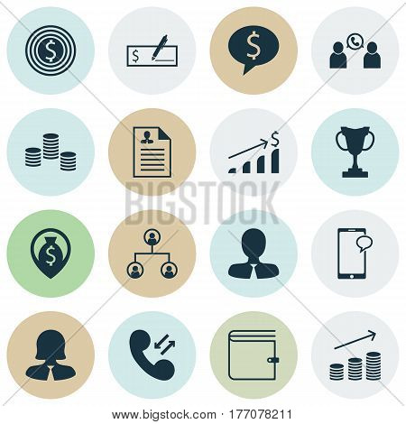 Set Of 16 Human Resources Icons. Includes Business Deal, Coins Growth, Phone Conference And Other Symbols. Beautiful Design Elements.
