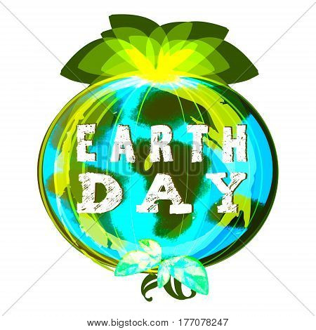 Earth day illustration on white background with rough sketch of continents and green leaves