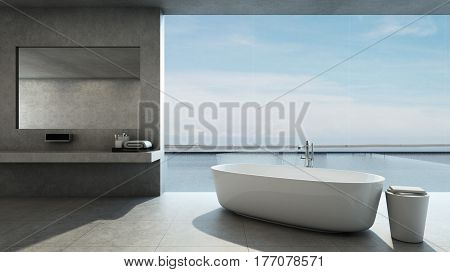 Bathroom design Modern & Loft in House pool villa take view sea -3D render
