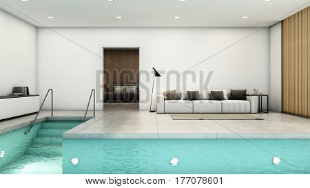 Minimalist living room overlooks the pool through the bedroom - 3D render