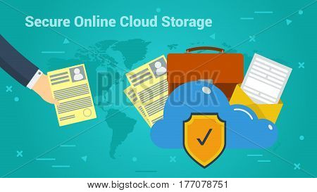 Vector horizontal web banner sesure online cloud data storage. Hand puts the document in a safety cloud storage. Internet disk for personal data in flat style