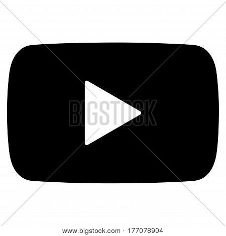 Play Video vector icon. Flat black symbol. Pictogram is isolated on a white background. Designed for web and software interfaces.